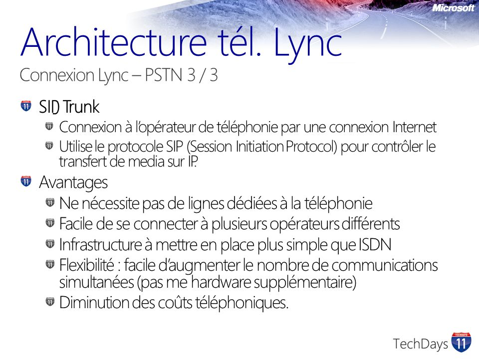 Architecture tél. Lync Connexion Lync – PSTN 3 / 3