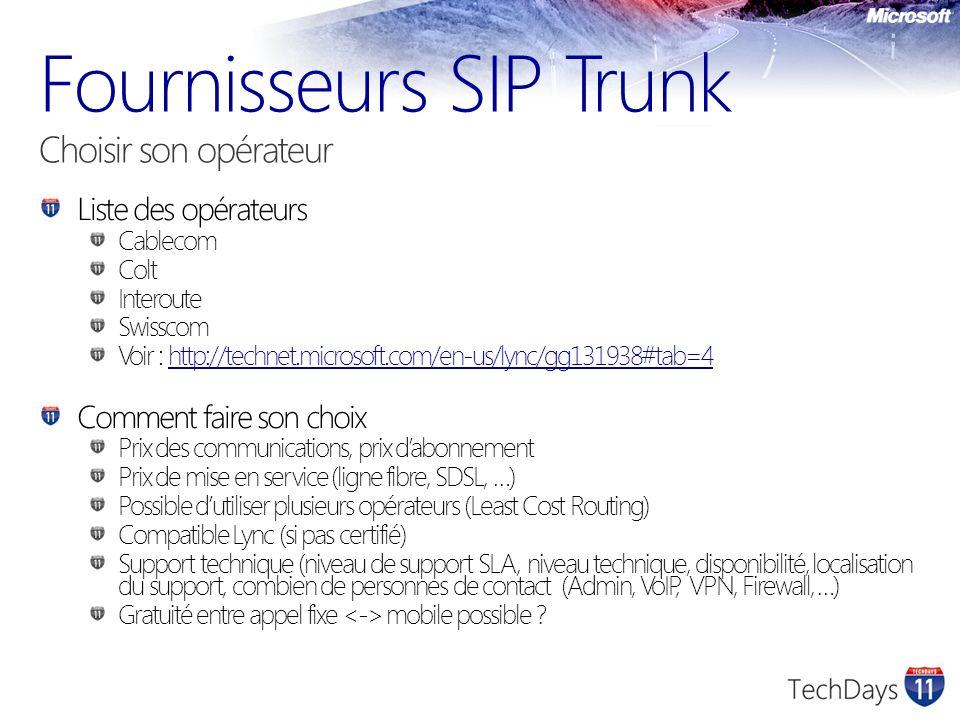 Fournisseurs SIP Trunk Choisir son opérateur