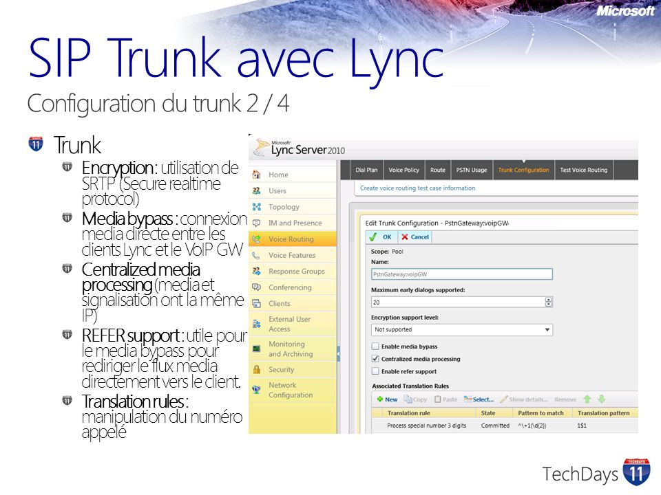 SIP Trunk avec Lync Configuration du trunk 2 / 4