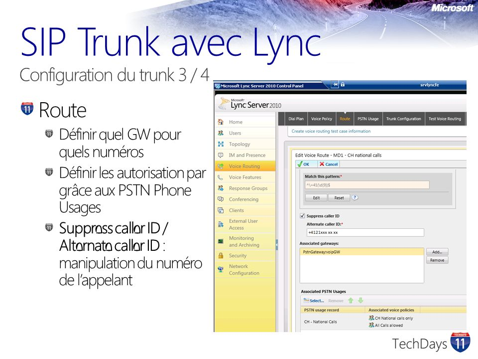 SIP Trunk avec Lync Configuration du trunk 3 / 4
