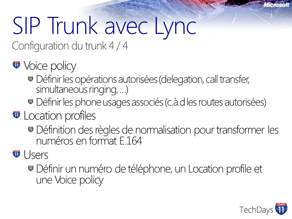 SIP Trunk avec Lync Configuration du trunk 4 / 4