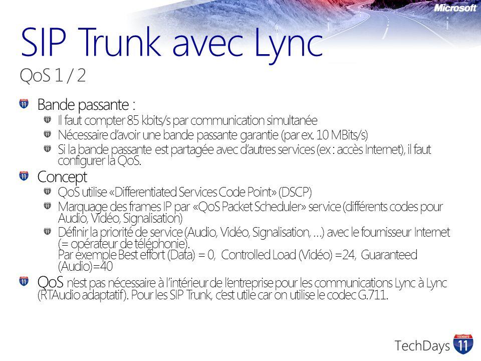 SIP Trunk avec Lync QoS 1 / 2