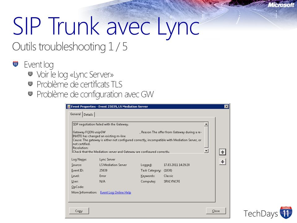 SIP Trunk avec Lync Outils troubleshooting 1 / 5