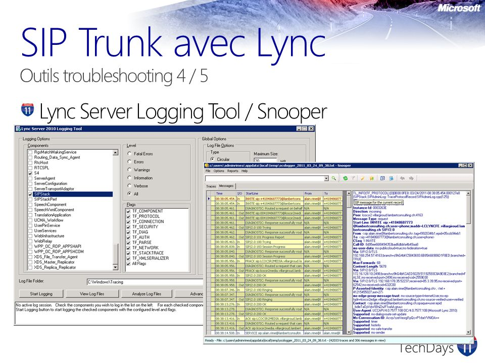 SIP Trunk avec Lync Outils troubleshooting 4 / 5