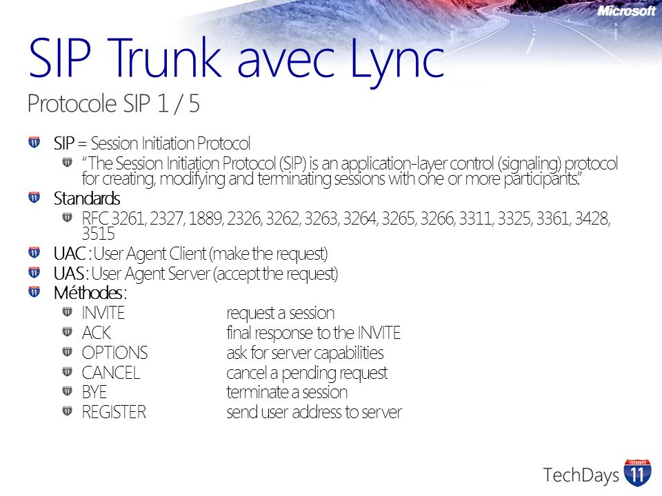 SIP Trunk avec Lync Protocole SIP 1 / 5