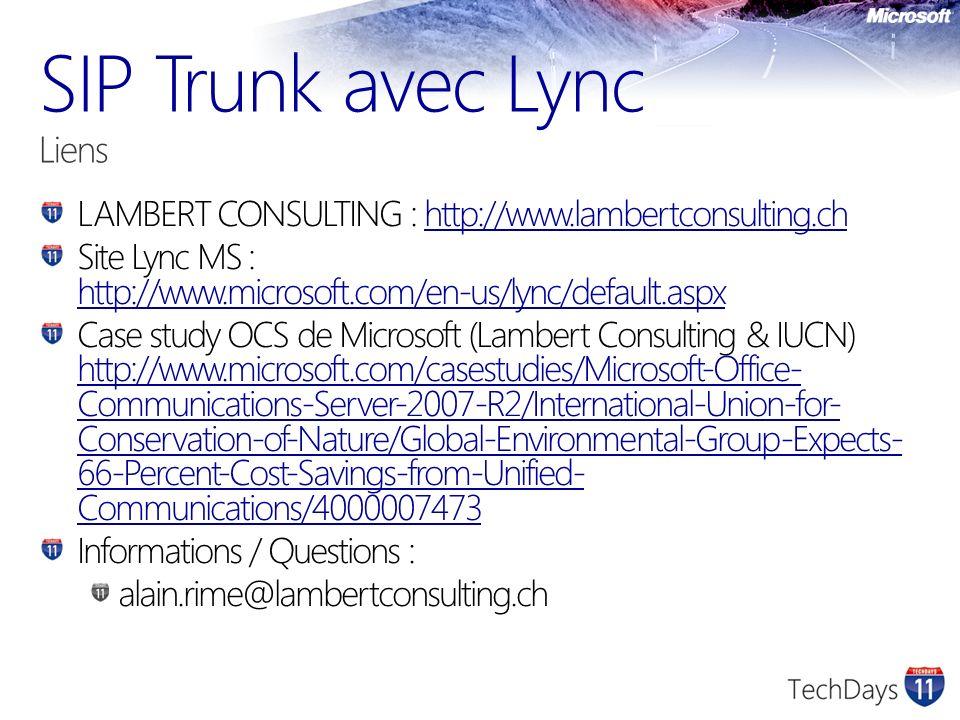 SIP Trunk avec Lync Liens