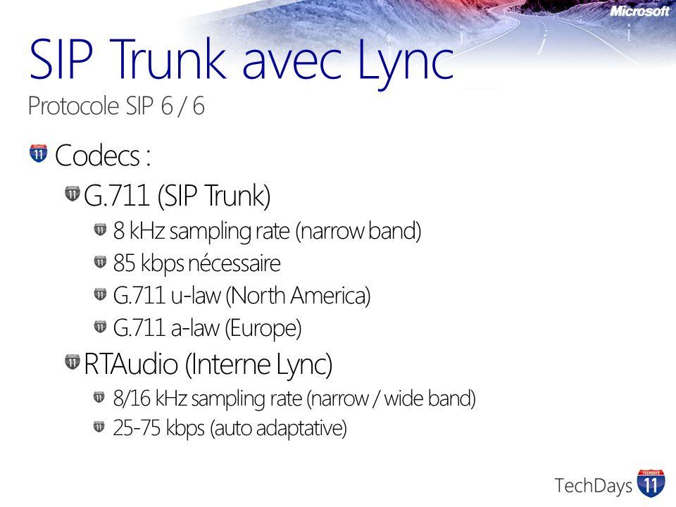 SIP Trunk avec Lync Protocole SIP 6 / 6