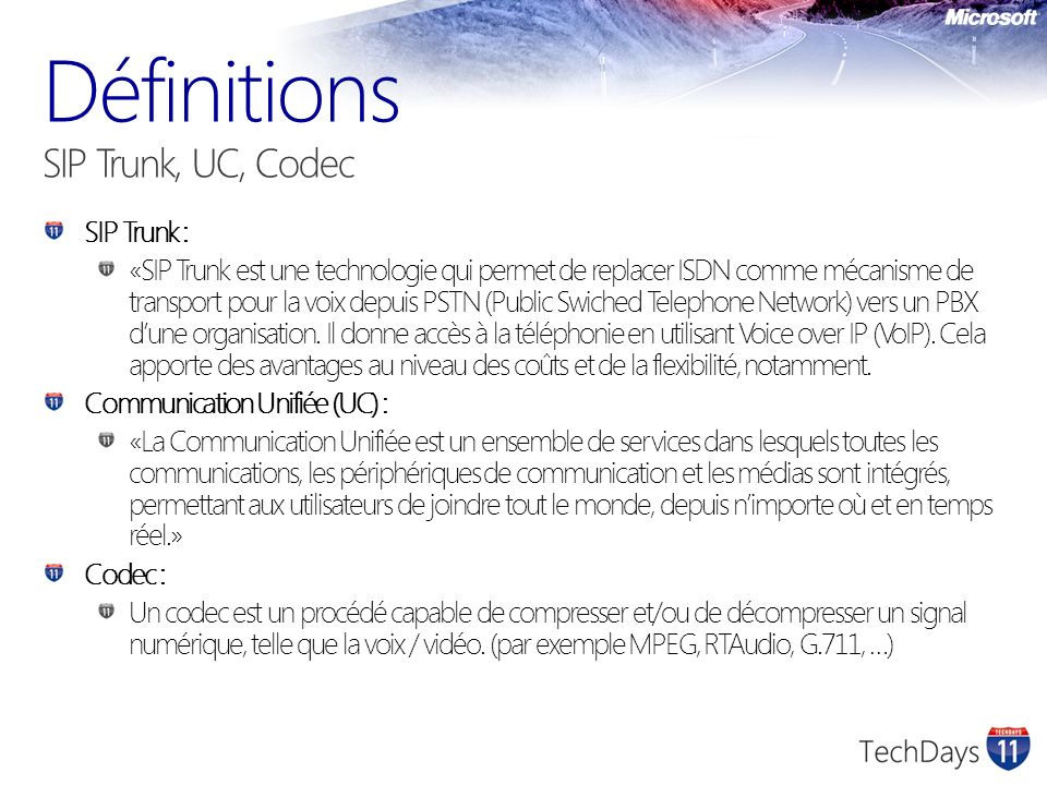 Définitions SIP Trunk, UC, Codec
