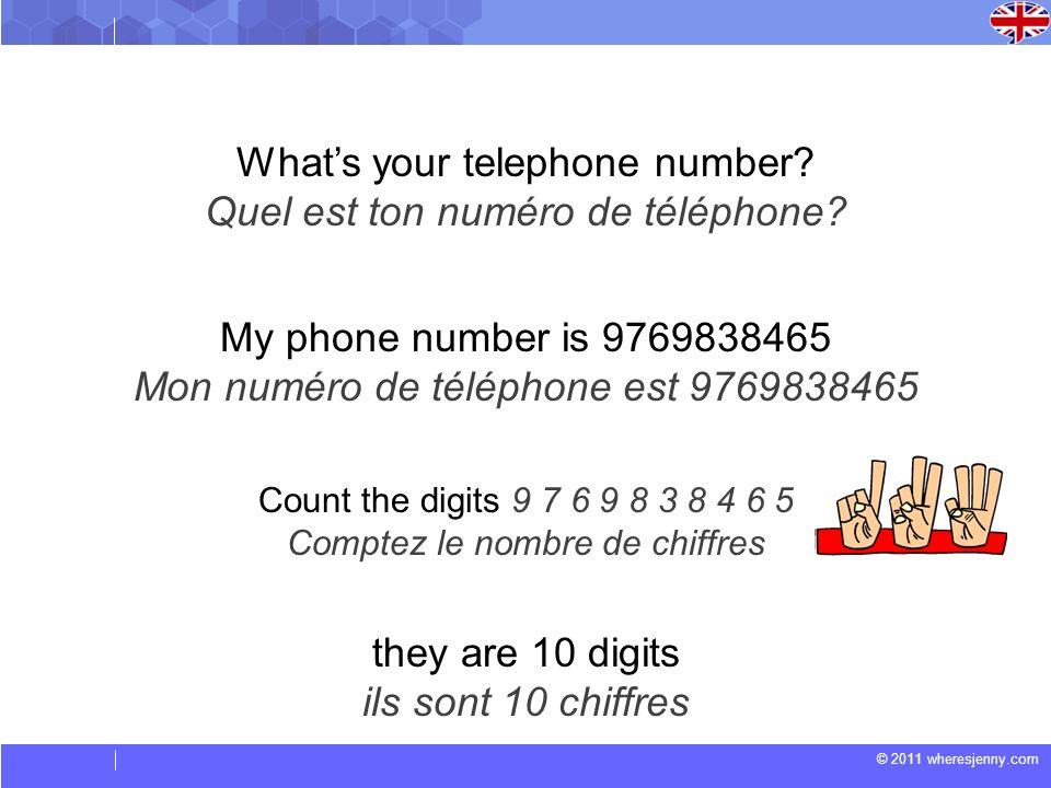 What's your telephone number Quel est ton numéro de téléphone