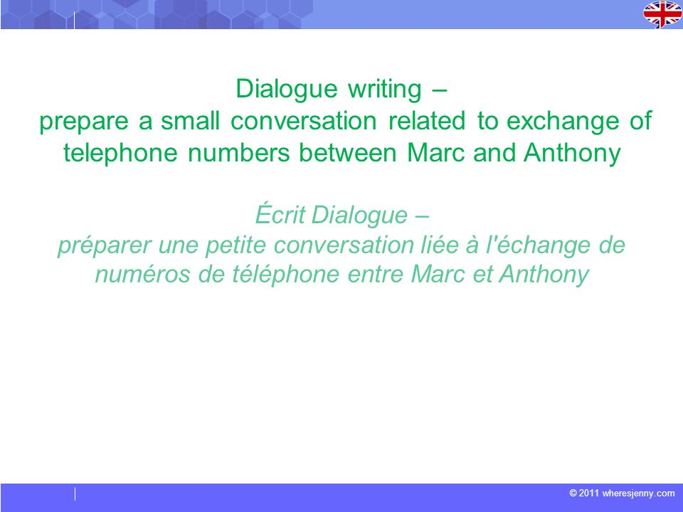 Dialogue writing – prepare a small conversation related to exchange of telephone numbers between Marc and Anthony.