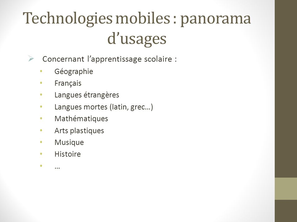 Technologies mobiles : panorama d'usages
