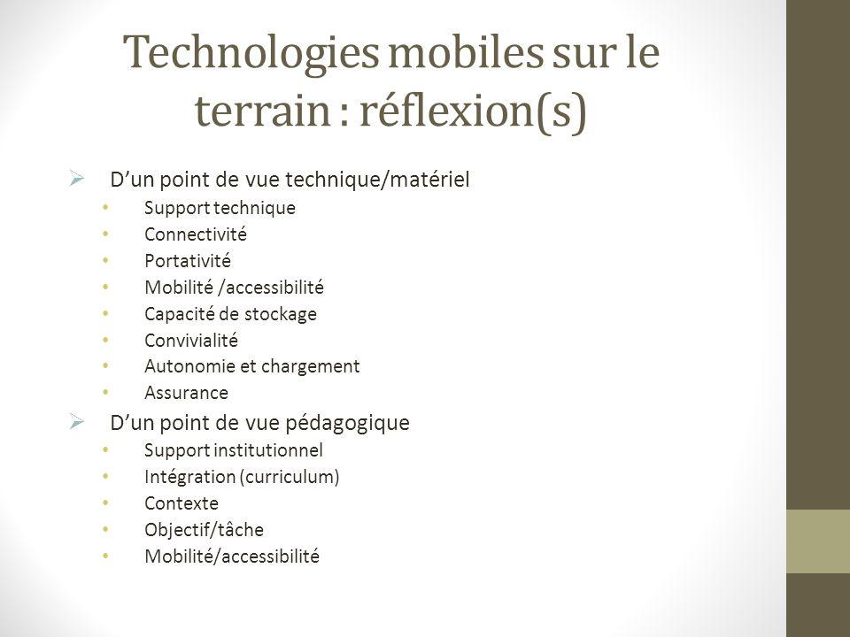 Technologies mobiles sur le terrain : réflexion(s)