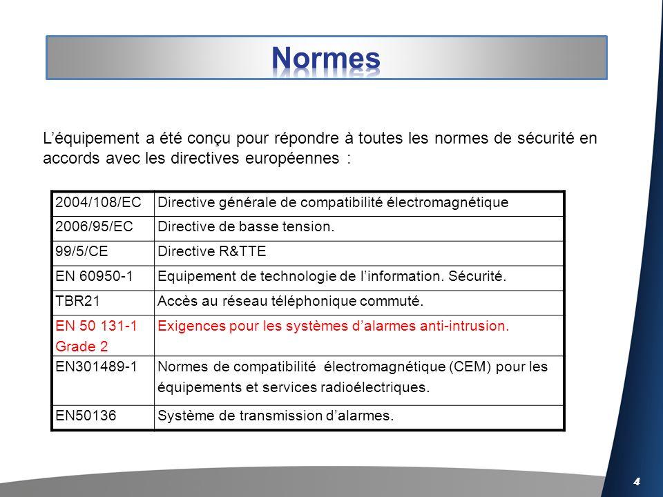 Normes L'équipement a été conçu pour répondre à toutes les normes de sécurité en accords avec les directives européennes :