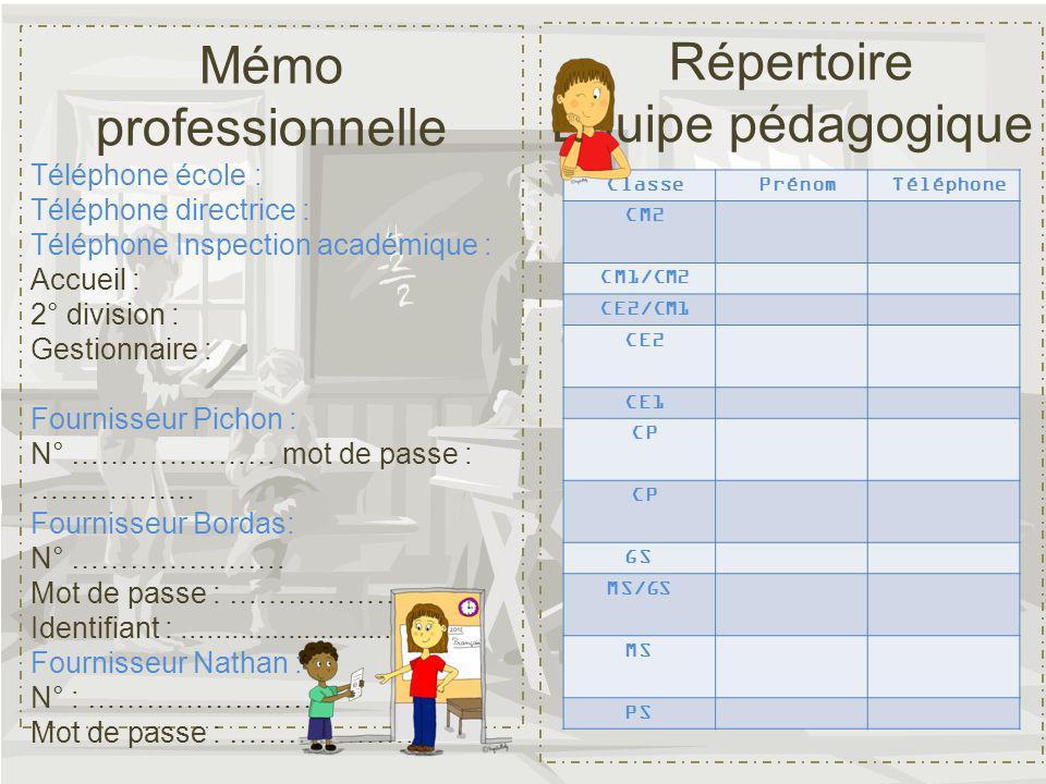 Mémo professionnelle Répertoire Équipe pédagogique Téléphone école :