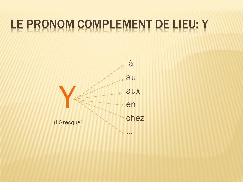 Le pronom complement de lieu: Y