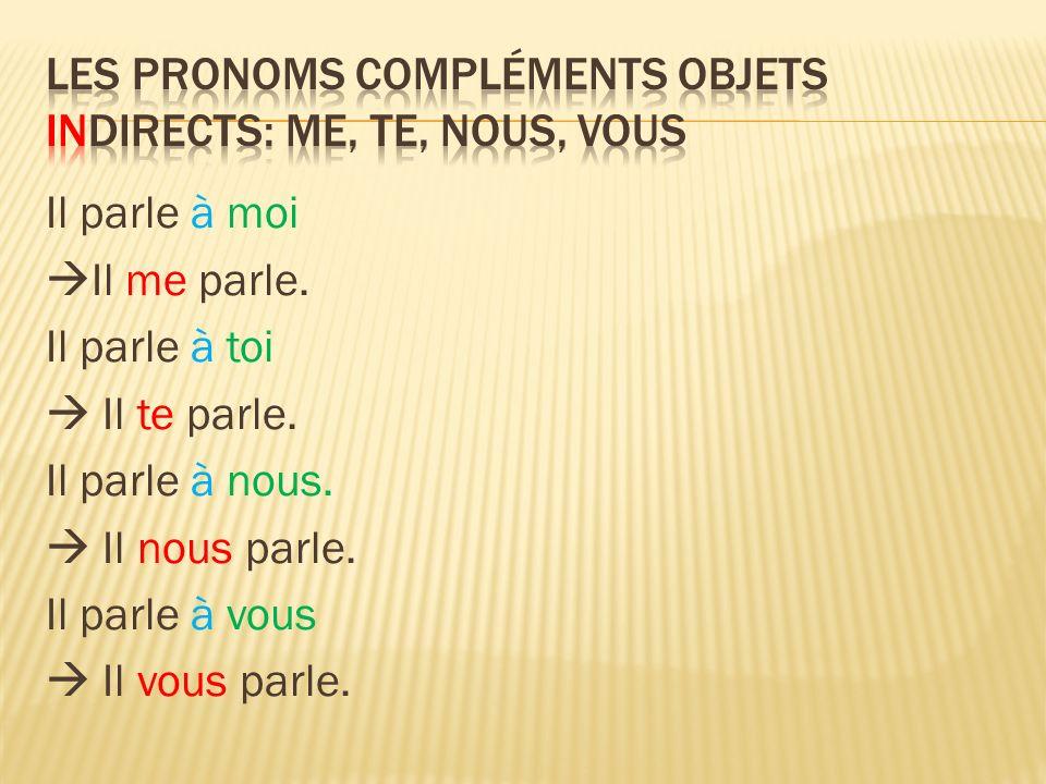 Les Pronoms compléments objets INdirects: me, te, nous, vous