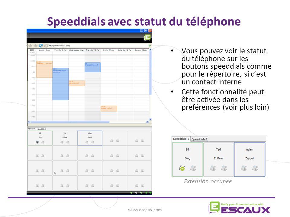 Speeddials avec statut du téléphone