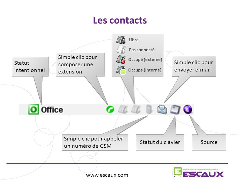 Les contacts Simple clic pour composer une extension