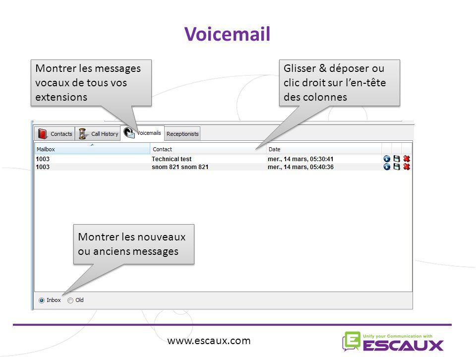 Voicemail Montrer les messages vocaux de tous vos extensions