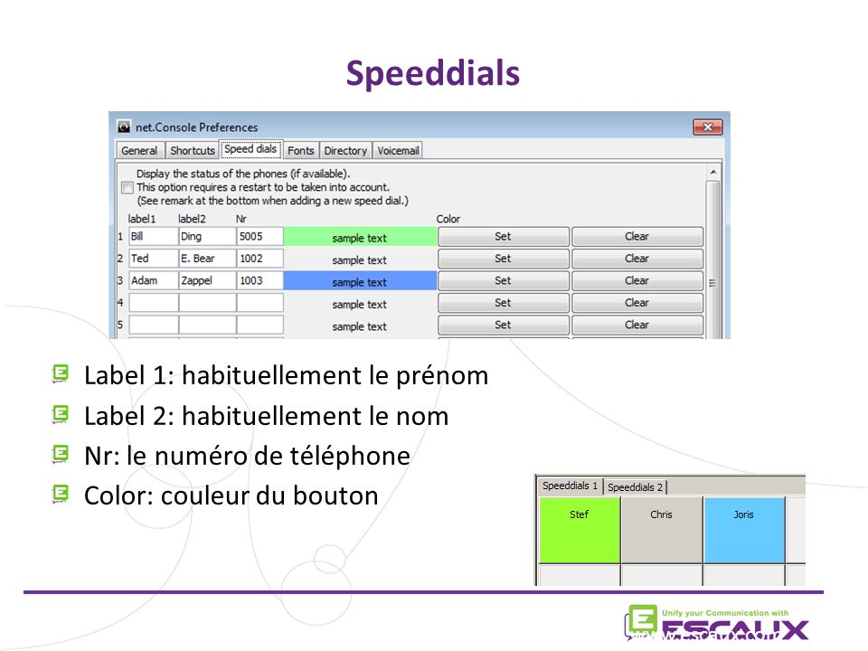 Speeddials Label 1: habituellement le prénom