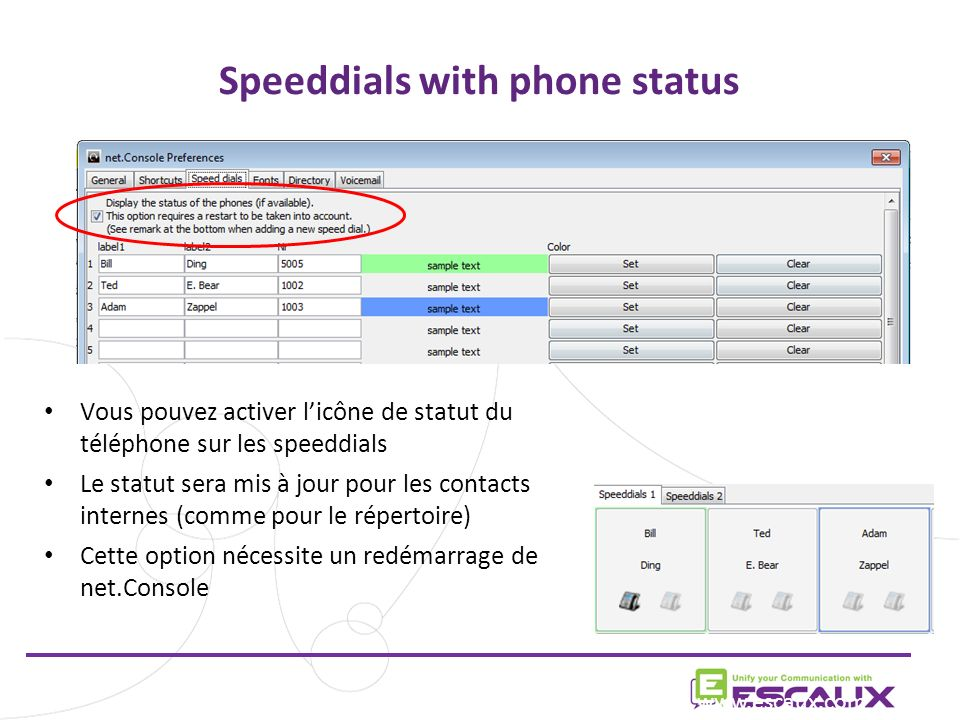 Speeddials with phone status