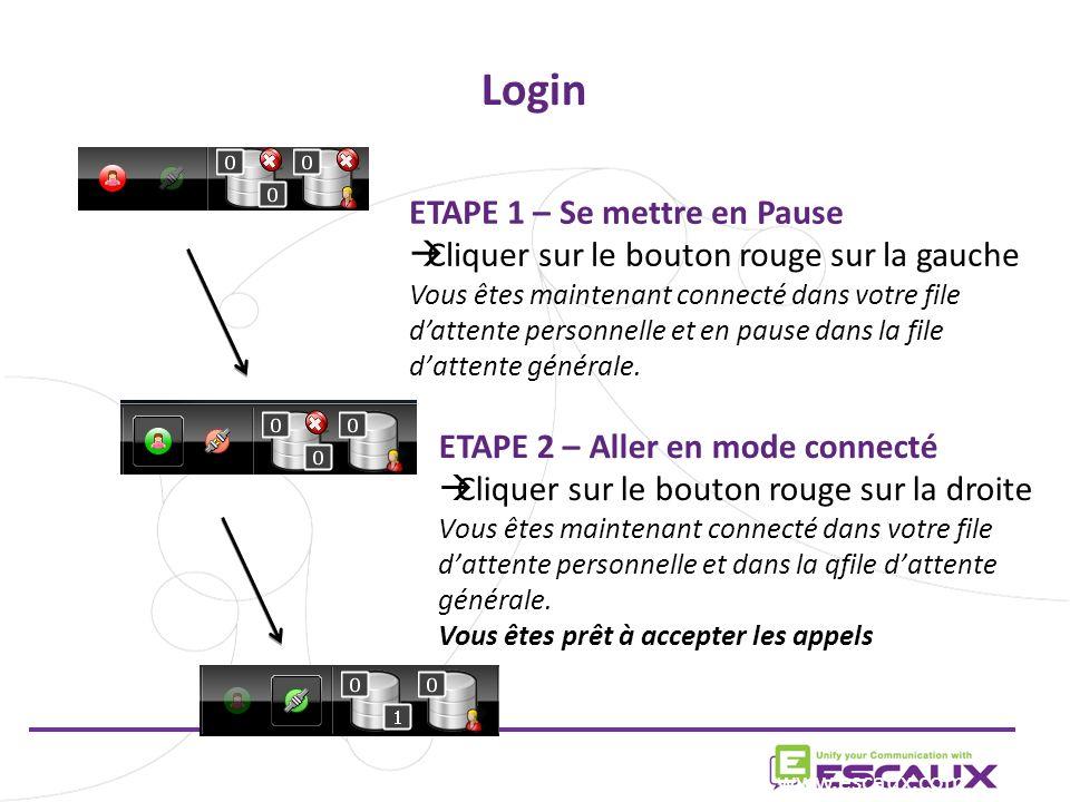 Login ETAPE 1 – Se mettre en Pause