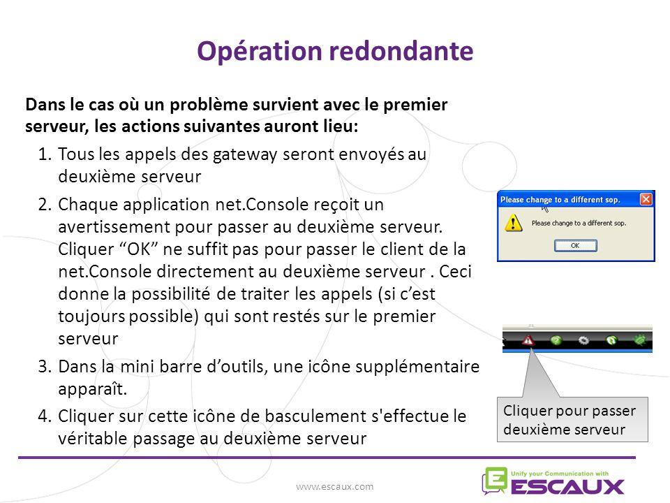Opération redondante Dans le cas où un problème survient avec le premier serveur, les actions suivantes auront lieu:
