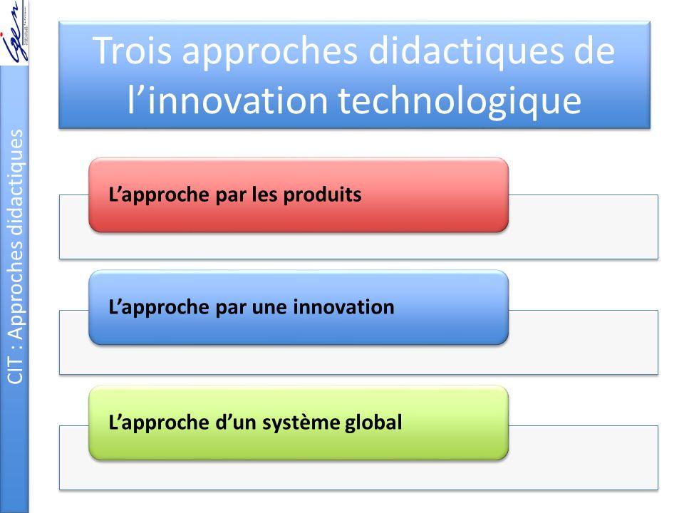 Trois approches didactiques de l'innovation technologique