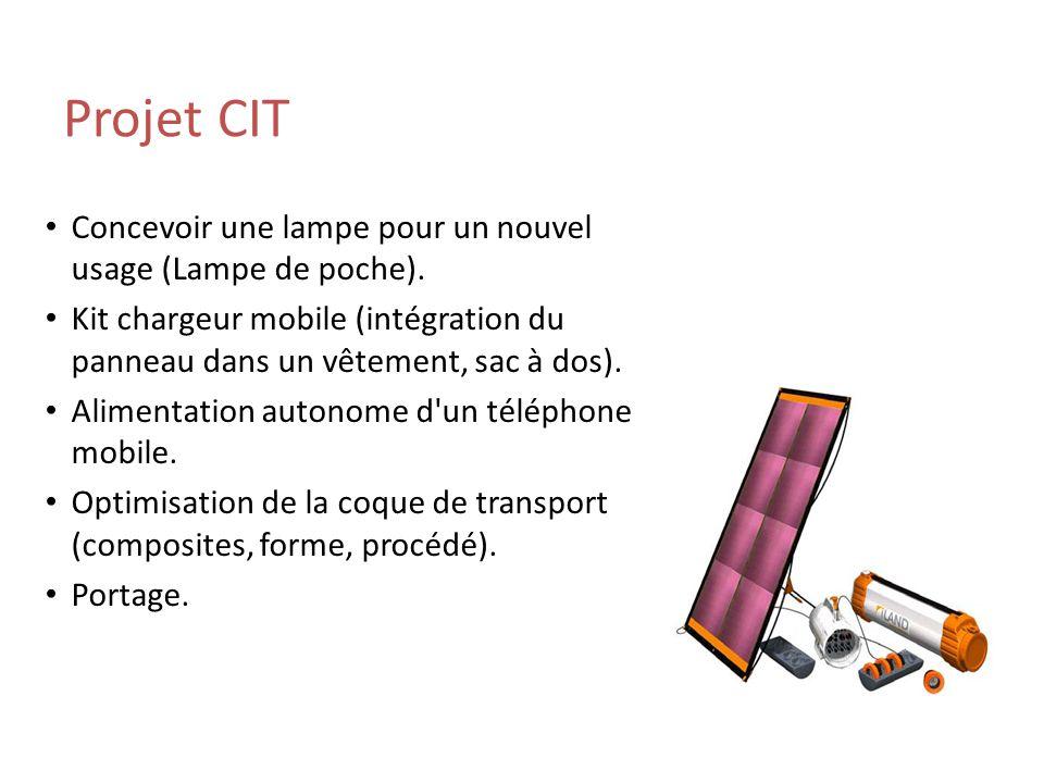 Projet CIT Concevoir une lampe pour un nouvel usage (Lampe de poche).
