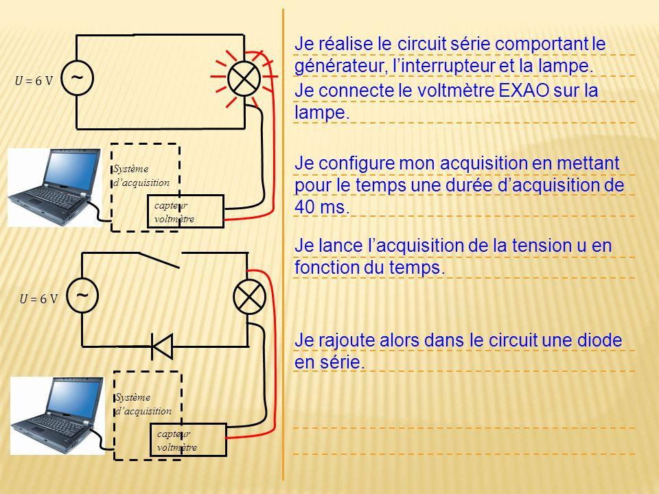 Je réalise le circuit série comportant le générateur, l'interrupteur et la lampe.