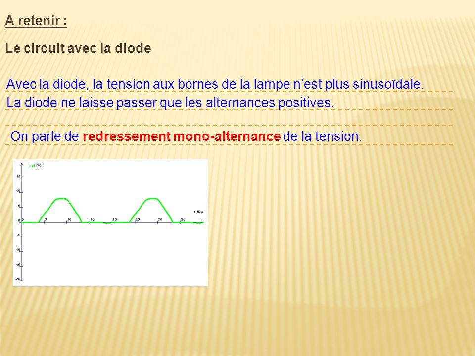 A retenir : Le circuit avec la diode. Avec la diode, la tension aux bornes de la lampe n'est plus sinusoïdale.