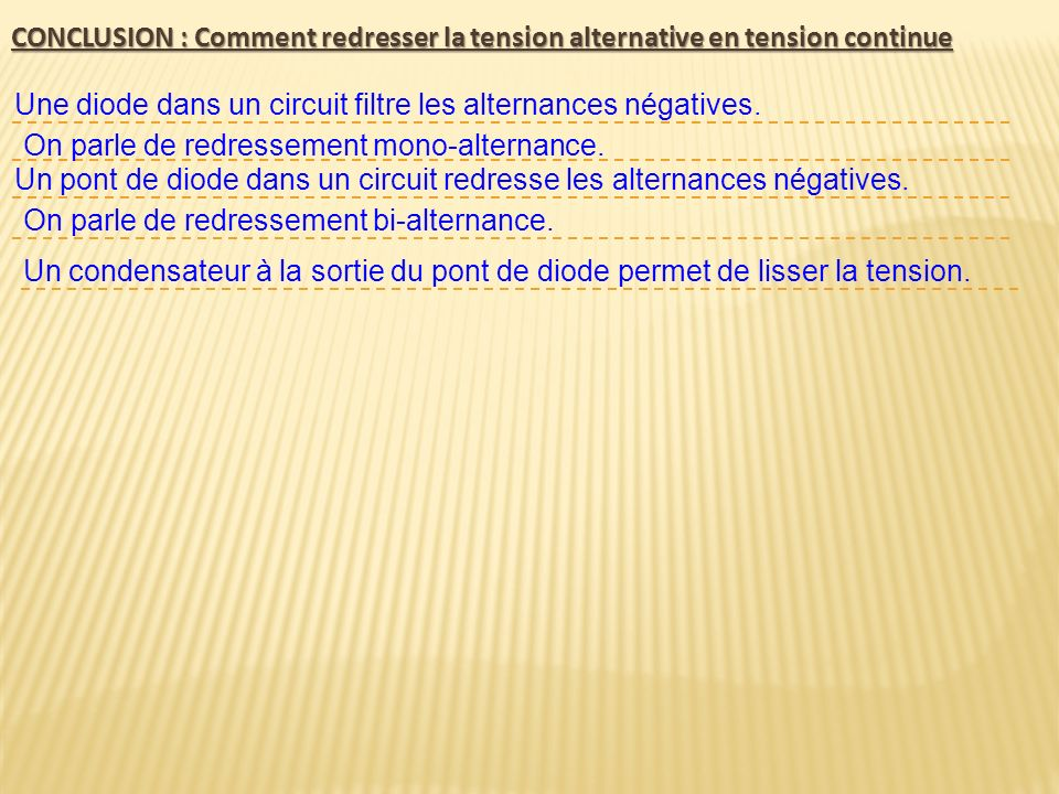 CONCLUSION : Comment redresser la tension alternative en tension continue