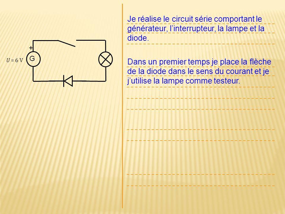 Je réalise le circuit série comportant le générateur, l'interrupteur, la lampe et la diode.