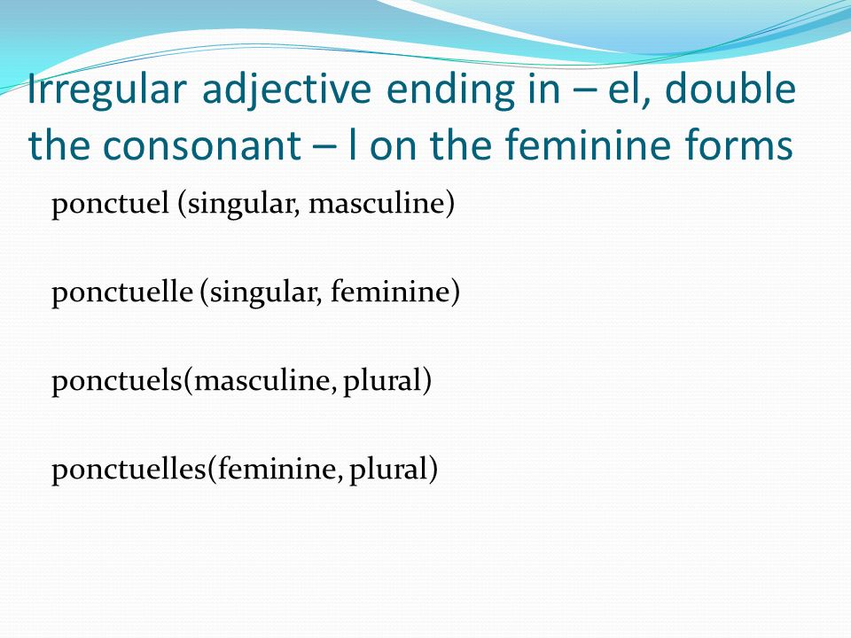 Irregular adjective ending in – el, double the consonant – l on the feminine forms
