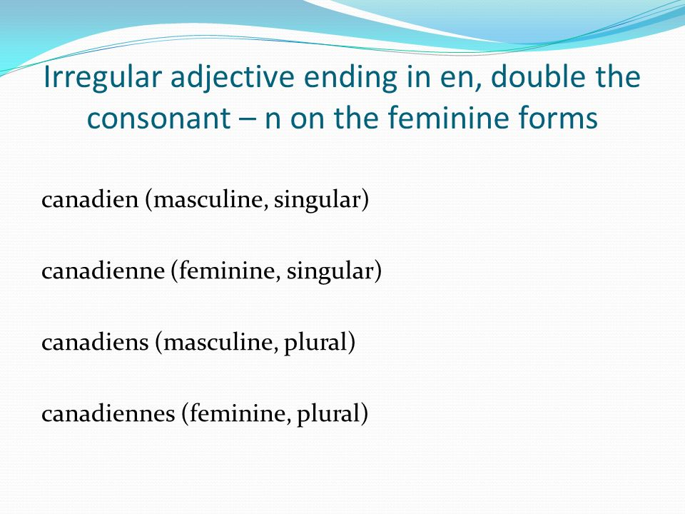 Irregular adjective ending in en, double the consonant – n on the feminine forms
