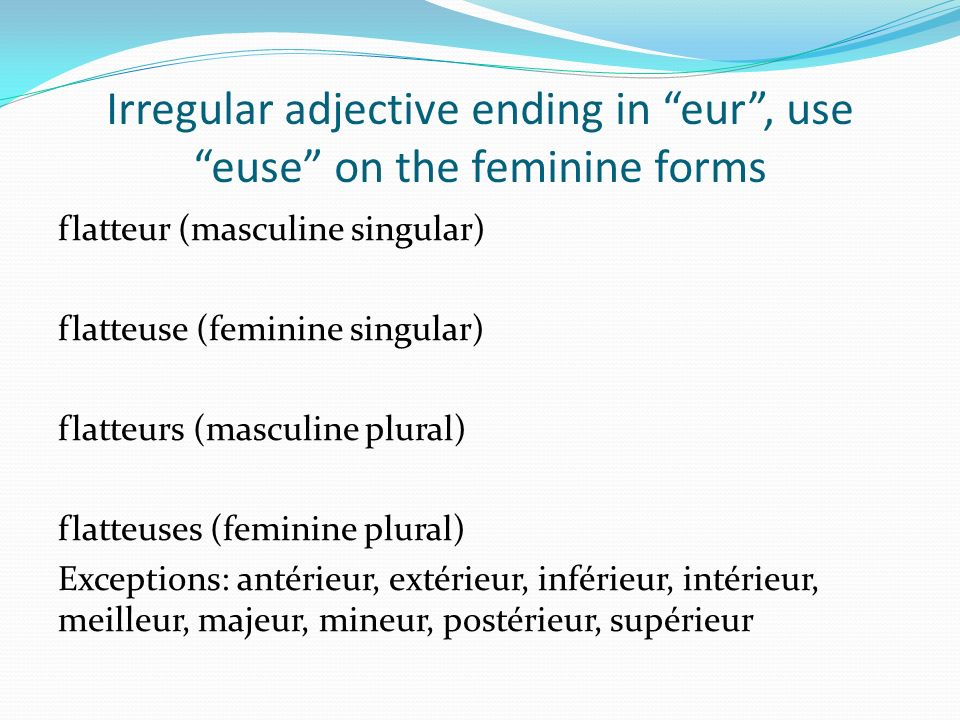 Irregular adjective ending in eur , use euse on the feminine forms