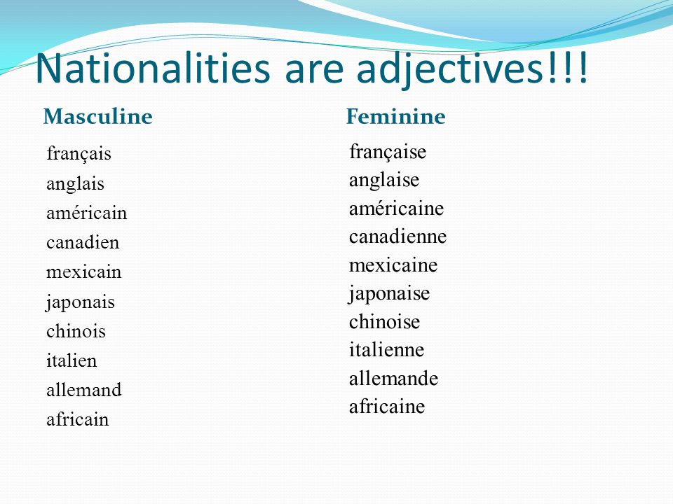 Nationalities are adjectives!!!