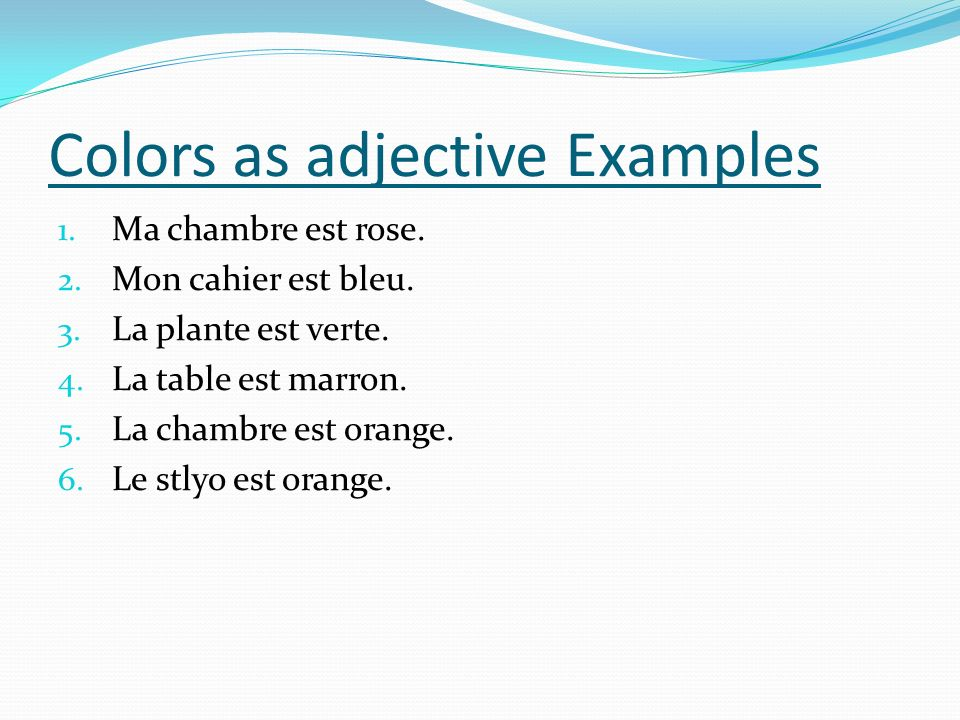 Colors as adjective Examples