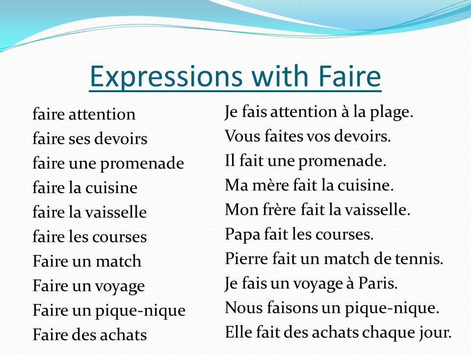 Expressions with Faire