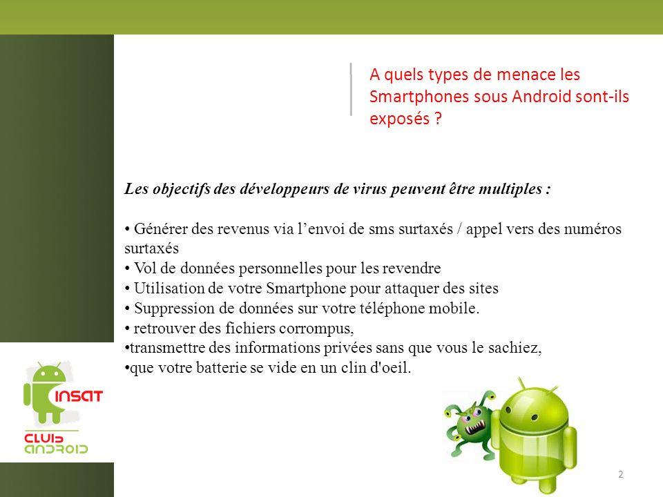 A quels types de menace les Smartphones sous Android sont-ils exposés