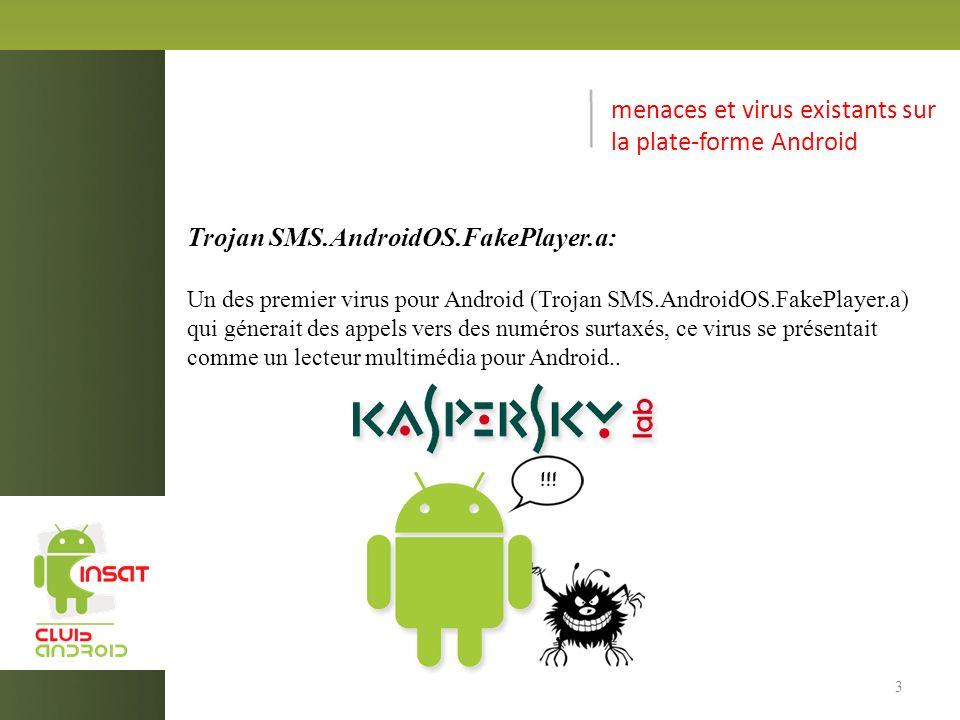 menaces et virus existants sur la plate-forme Android