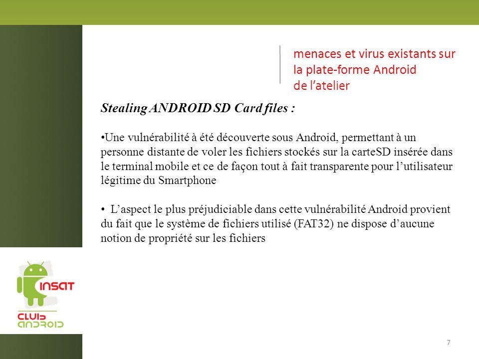 menaces et virus existants sur la plate-forme Android de l'atelier