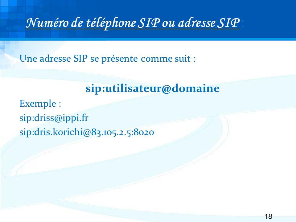 Numéro de téléphone SIP ou adresse SIP :