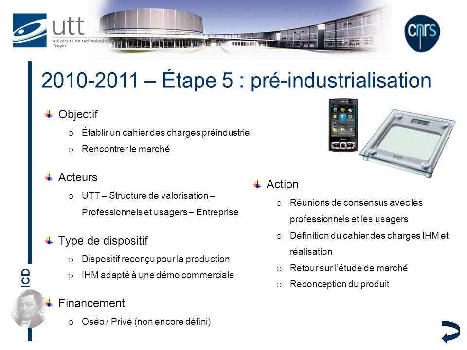 2010-2011 – Étape 5 : pré-industrialisation