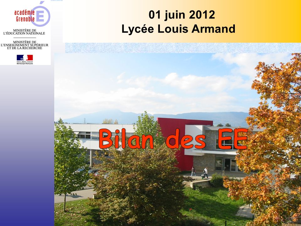Bilan des EE 01 juin 2012 Lycée Louis Armand J Cl PERROUX IA-IPR STI
