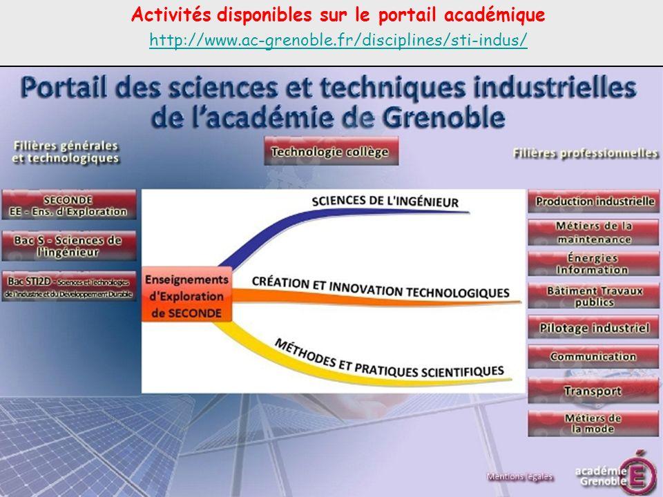 Activités disponibles sur le portail académique