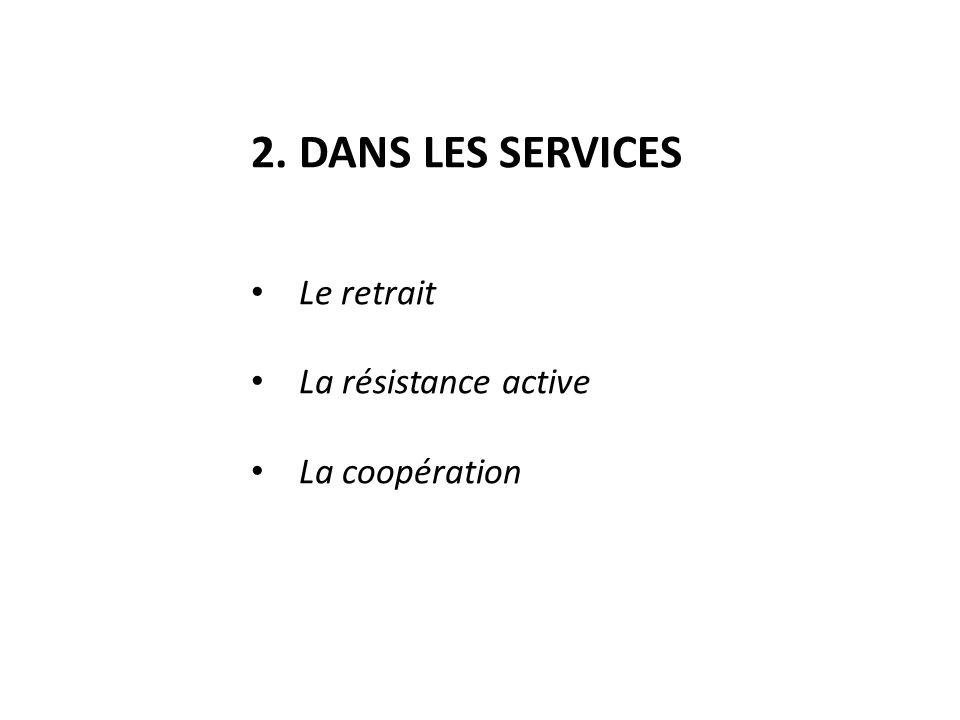 2. DANS LES SERVICES Le retrait La résistance active La coopération
