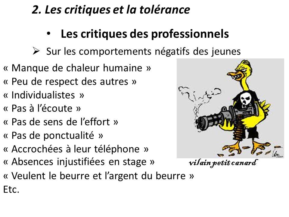 2. Les critiques et la tolérance