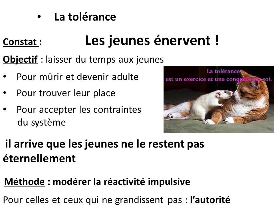 La tolérance Constat : Les jeunes énervent !