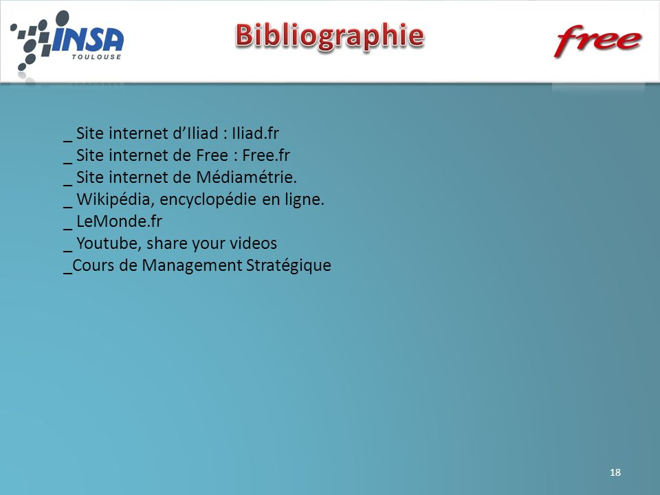 Bibliographie _ Site internet d'Iliad : Iliad.fr